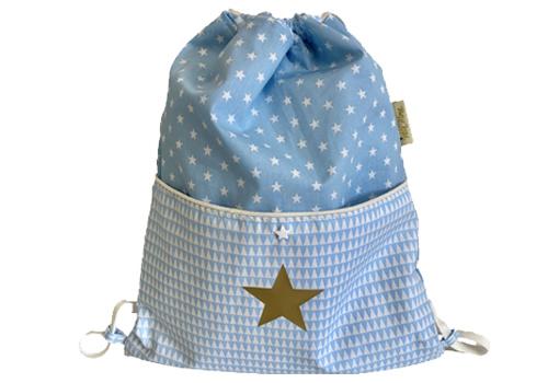 Turnzak sterren lichtblauw met gouden ster