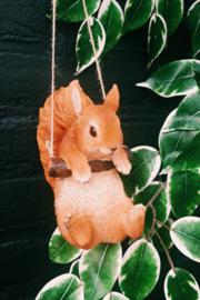 Eekhoorn hangend over stokje