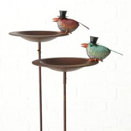 Tuinsteker voeder-/waterbak vogel met hoed