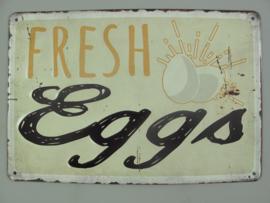 Ijzeren bord Fresh eggs