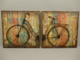 tweeluik wanddecoratie met ijzeren fiets 3D