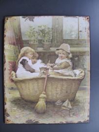 Ijzeren bord 'kinderen in bad nostalgie'