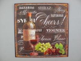 Ijzeren bord Wijn Cheers