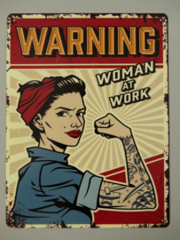 ijzeren  bord 'warning woman at work'
