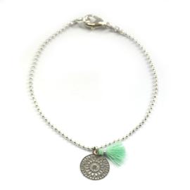 Ava bracelet ♥ mandala & tassel mint silver