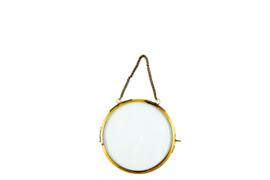 Hanging round photoframe antique gold (M)