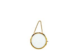 Hanging round photoframe antique gold (S)