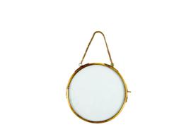 Hanging round photoframe antique gold (L)
