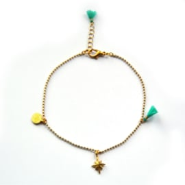 Maeve anklet ♥ turquoise gold