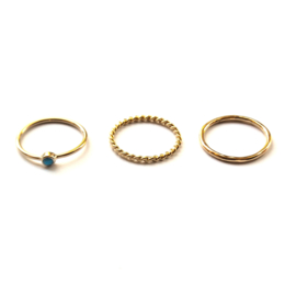 Lucy ring set ♡ turkoois gold