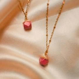 Jade necklace ♡ hexahedron crimson stone gold