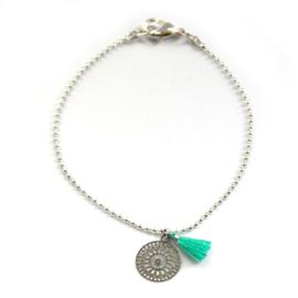 Ava bracelet ♥ mandala & tassel turquoise silver