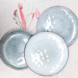 Keramieken bord grijs/blauw