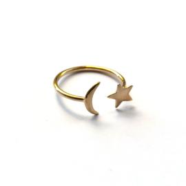 Estée ring ☆☽ moon & star gold