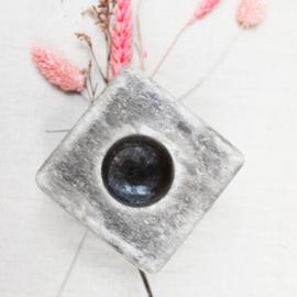 Zoutkristal kaarsenhouder grijs  vierkant