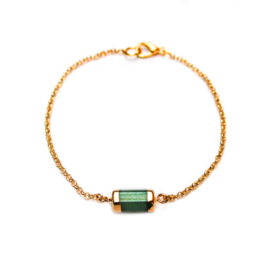 Melia bracelet ♡ hexagon bar green gold