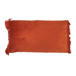 Burnt orange velvet kussen fringe