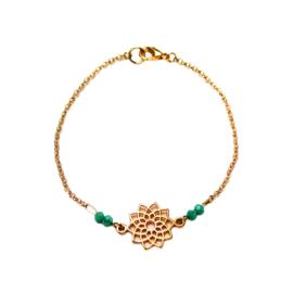 Zoe bracelet ♡ mandala & facets ocean green gold