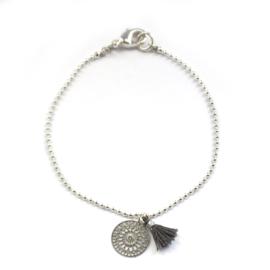 Ava bracelet ♥ mandala & tassel gray silver