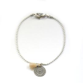 Ava bracelet ♥ mandala & tassel beige silver