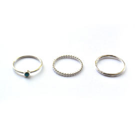 Lucy ring set ♡ turkoois silver