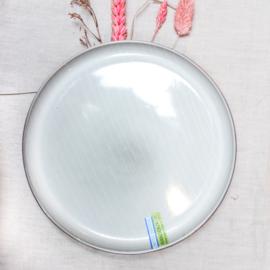 Keramieken bord streepjes lichtgrijs/blauw