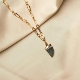 JUNIPER NECKLACE ♥ BLACK STONE SHACKLE GOLD