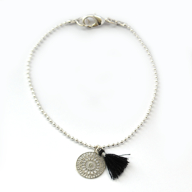 Ava bracelet ♥ mandala & tassel black silver