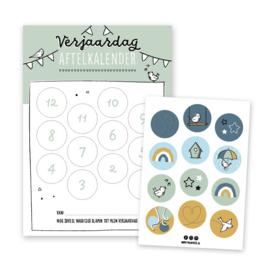 Verjaardag aftelkalender | groen | incl. stickers
