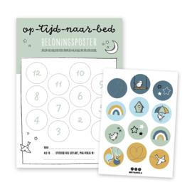 Op-tijd-naar-bed beloningsposter | groen | incl. stickers