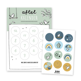 Aftelkalender | groen | incl. stickers