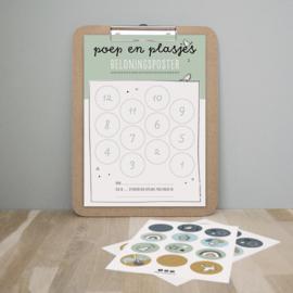 Poep en plasjes beloningsposter   groen   incl. stickers