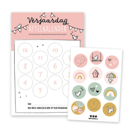 Verjaardag aftelkalender | roze | incl. stickers