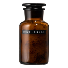 Wellmark Badzout apothekers pot – bruin glas – 250 ml 'Just relax'