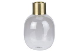 VAAS PEARL GOLD TOP GRIJS 8X8XH12CM GLAS 