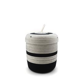 Koba lidded basket-M- black & white 23X21
