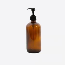 Point virgule Boston fles uit glas met pomp amber 500ml