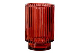 THEELICHTHOUDER ROOD D8,5XH13CM GLAS