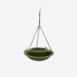 Point virgule vogelbad/voederschaal voor vogels uit bamboe groen
