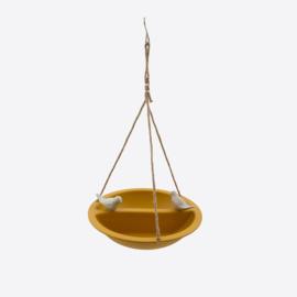 Point virgule vogelbad/voederschaal voor vogels uit bamboe okergeel