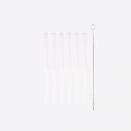 Point virgule set van 6 korte glazen rietjes met reinigingsborstel en zakje 14cm