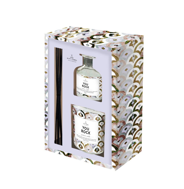 The Gift label -Gift Box - Candle & Reed Diffuser - You rock