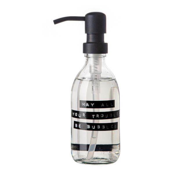 Wellmark Handzeep frisse linnen helder glas zwarte pomp 250ml 'shit happens just wash'