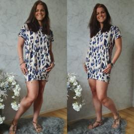 OVERSIZED LEOPARD DRESS   CREME