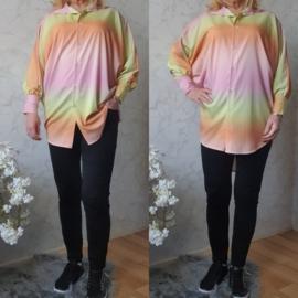 Rainbow blouse silky | Roze/Geel