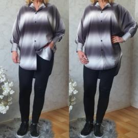 Rainbow blouse silky | Zwart/Wit