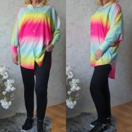 Rainbow blouse silky | Roze/Blauw