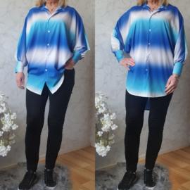 Rainbow blouse silky | Blauw/Wit