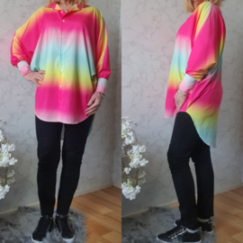 Rainbow blouse silky | Oranje/Roze