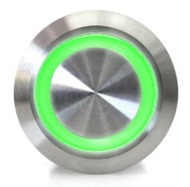 Drukknop   Moment   5V LED Groen   RVS   12mm